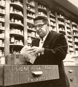 Sidney Skolsky checking his mail at Schwab's.
