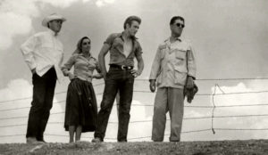 Director George Stevens with cast members James Dean, Elizabeth Taylor and Rock Hudson on location in Marfa.