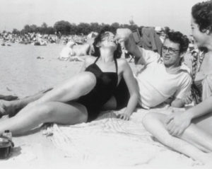 Jim with Barbara Glenn on the beach